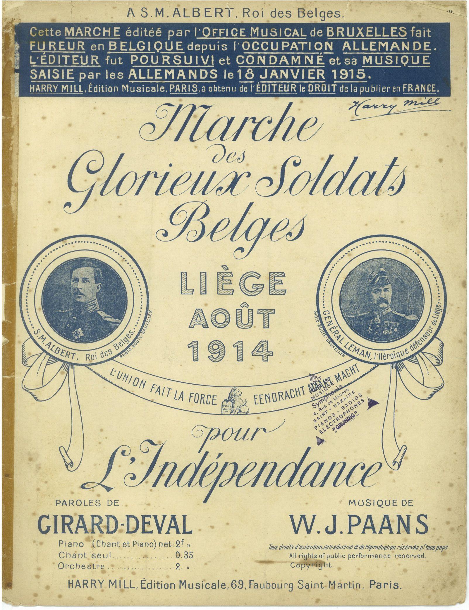 cfafdc195df26 Fig. 3b – Willem–Jan Paans (musique), Gaston Girard–Deval (texte), [s.n.]  (illustration), Marche des glorieux soldats belges, Paris, Harry Mill,  1914, coll.