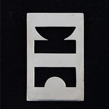 <span style='display:none;'>Jo Delahaut. Sans titre (1982). Pendentif en argent, 5,5 x 5 cm. Collection privée.</span>